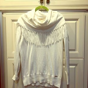 Cowl neck with fringe sweater